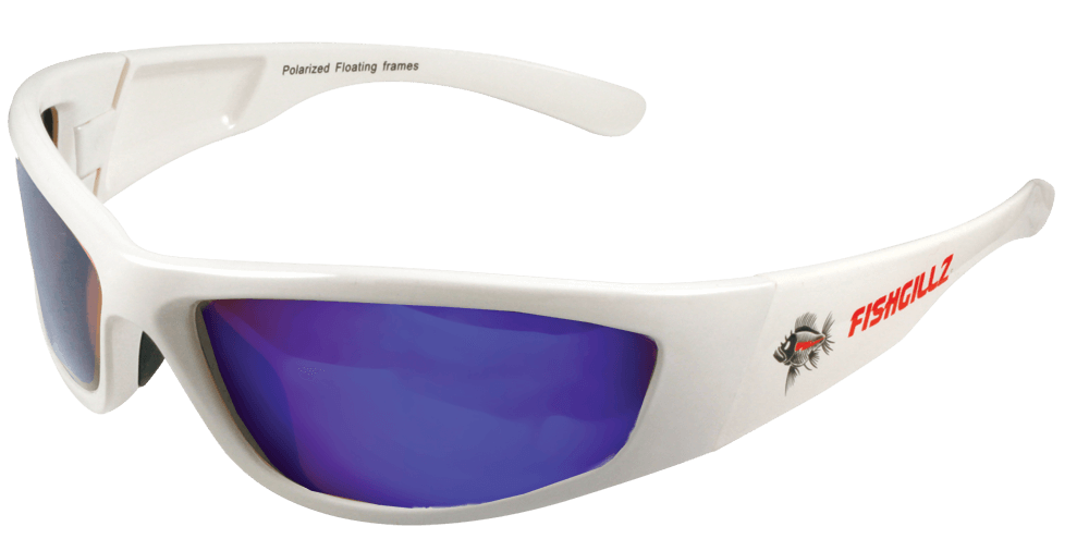 The Mailibu – White Frame / Blue Revo Lens | Fishgillz Sunglass Co.